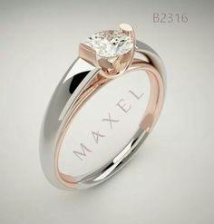 #Anillo supremo linea Maxel. #oro blanco y rosado con #diamante.