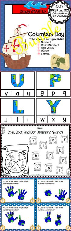 Are you looking for EASY PREP literacy and math activities for preschool, kindergarten, or first grade? Then enjoy this phonics and math resource which is comprised of TEN different COLUMBUS DAY themed activities. The bundle includes a variety of engaging activities such as I Spy, clip cards, Bingo dauber activities, and MORE!  The activities can be used for whole class fun, literacy and math centers, partner collaboration, individual practice, or homework.
