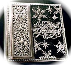 Cards by America, Christmas, Holidays, Snowflake, Mini Striplet, Seasons Greetings, Craft Dies, Cutting Dies, Die Cuts, Sue Wilson, Creative Expressions, Snowflakes, Snow, Winter, Black and Silver, www.cardsbyamerica.blogspot.com/