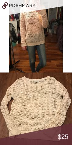 American Eagle crochet knit sweater This cream colored crochet style sweater is a size small. No imperfections, beautiful pattern! Could be worn with a colorful tank or bralette to make it pop! Will post more pictures upon request, I always accept reasonable offers! American Eagle Outfitters Sweaters Crew & Scoop Necks