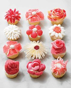 If you think you need to be a pastry chef to create these beautiful flower cupcakes, think again. Simply top frosted cupcakes with a small garden's worth of cut-up candies in an artful arrangement. Serve your blooms at parties, bake sales, brunches -- even on Mother's Day. Everyone will love eating them petal by petal before biting into the cake underneath.