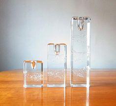 "Timo Sarpaneva - Art glass candleholders ""Arkipelago"" for Iittala, Finland."