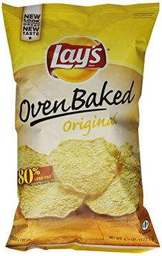 Frito-Lay's line of Oven Baked snacks are baked, not fried, to give you the great taste you've come to love with Frito-Lay snacks.  On top of that, Oven Baked LAY'S potato crisps offer less fat than regular potato chips*.  *65% less fat than regular potato chips.  Fat content of regular potato chips is 10g per 1 oz. serving.  Fat content of these snacks is 3g per 1 oz. serving.  This package contains 7/8 oz