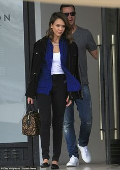 Jessica Alba wearing Jenni Kayne d'Orsay Flats in Black A.L.C. Lucas Leopard Duffle Satchel Rails London Trench Coat