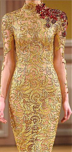 Exquisite golden designer dress #fashion www.finditforweddings.com