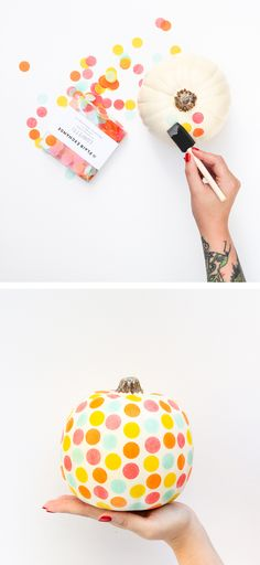 This DIY confetti pumpkin is going to be such a fun little project!