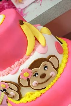 Pink Monkey Cake.... I need to find someone to make this for JackLynn's 1st birthday!
