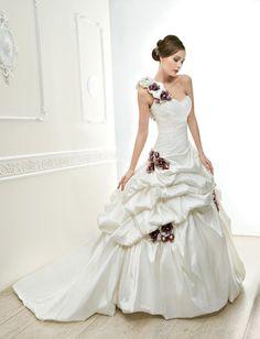 Luxurious One Shoulder  A Line Wedding Dress -- USD $199.99