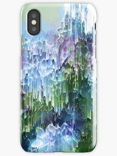 Falling Nature Glitch - Blue, Green and Ultra Violet on iPhone Case and Skin | Design by Dominique Vari on Tapestry  |  Redbubble  | #tech #accessories #iphonecase #iphoneskin #phonecase #glitch #abstract #floral #succulents #generativeart #blue #greenery #green #ultravioletaccent #dynamic #vertical #Dominiquevari #Redbubble