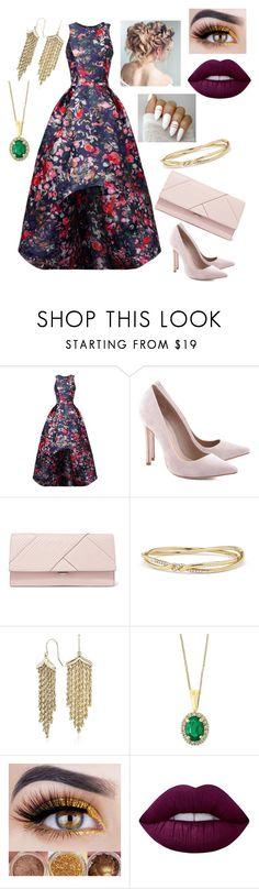 """Prom #1"" by kailyn442 ❤ liked on Polyvore featuring ML Monique Lhuillier, Schutz, Michael Kors, David Yurman, Blue Nile, Effy Jewelry, Lime Crime, Prom, floralprint and PROMNIGHT"