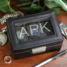 Personalized Engraved Initials - 3 Compartment Watch Box