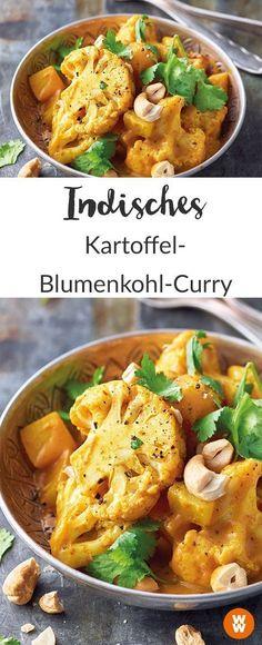 Indisches Kartoffel-Blumenkohl-Curry Rezept vegetarisch Curry Curry-Rezept vegetarisches Curry I Weight Watchers rezepte calorie dinner calorie food calorie recipes Easy Healthy Recipes, Veggie Recipes, Indian Food Recipes, Pasta Recipes, Vegetarian Recipes, Easy Meals, Dinner Recipes, Potato Recipes, Vegetarian Lifestyle
