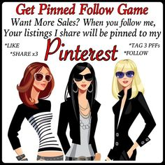 ♦️PLEASE SHARE♦️PINTEREST♦️FOLLOW GAME♦️ Exciting news isn't it!!! All the listings I share for you when you like/follow/share/tag 3 PFFs this listing will not only be posted on Posh, they'll be pinned on my Pinterest board. *Offer valid after *one(1) like *one(1) follow *three(3) PFFs are tagged with this listing and *three(3) shares are completed. ***If by chance your already following me, if you click on the follow tab and un-follow me, then follow me again I'll receive Notification. Free…