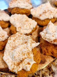 Cookie Ingredients: 1 Stick Butter 1 Egg 1 /2 C. Swerve Brown 1 C. Swerve Granular 1 T. Vanilla 1 ¼ C. Pumpkin Puree 2 ½ C. All Purpose or Almond Flour ½ t. Salt 1 t. Baking Powder 1 t. Baking Soda 1 T. Cinnamon 1 t. Pumpkin Pie Spice Frosting Ingredients: 8 Ounces Cream Cheese ½ C. Heavy Whipping Cream 1 T. Vanilla ¼ C. Swerve Confections Easy Directions: 1. In mixing Pumpkin Cookies, Pumpkin Pie Spice, Pumpkin Puree, Baking With Almond Flour, Low Carb Deserts, Stick Butter, Cookies Ingredients, Fall Food, 1 Egg