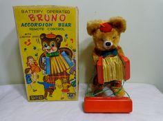 Yonezawa Accordion Bear  Battery Operated Toy from 60s  ebay