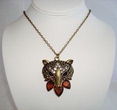 Cute Brass Tone Raccoon Pendant Long Necklace. $16.00, via Etsy.