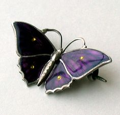 CHARLES HORNER STERLING AND ENAMEL ART NOUVEAU BUTTERFLY BROOCH