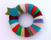 Rescued Wool Wreath Ornament - Wool Wrapped Wreath - recycled wool wreath by alicia todd