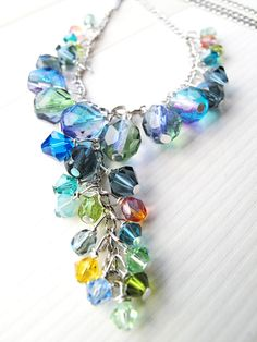 Ocean blue cluster necklace with Swarovski by BagatelleDesigns, $35.00