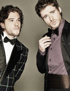 Rob and Jon Snow in suits  AND bow ties. I approve everything that is this.