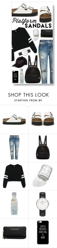"""""""160823"""" by aase ❤ liked on Polyvore featuring Birkenstock, STELLA McCARTNEY, Herbivore, S'well, Daniel Wellington, Michael Kors, River Island and platforms"""