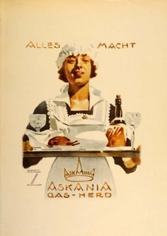 """""""Askania Gas-Herd"""" This is an original 1926 four-color lithograph advertising mini poster by Ludwig Hohlwein. Period Paper is pleased to offer a collection of o"""