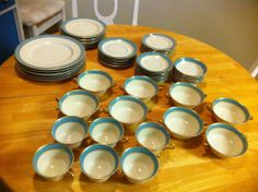 55 Piece Set Of Syracuse China In Edmonton Blue - Service For 6 + extras