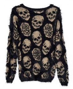 Skull and roses eyelash sweater #style