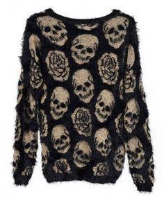 Skull and roses eyelash sweater #style