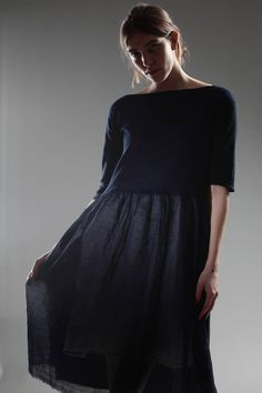 DANIELA GREGIS - Dress In Knitted Cotton With Crêpe De Chine And Linen Gauze Hem With Cotton Etamine Slip :: Ivo Milan