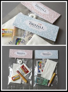 """I made these kits except with a lot more items! My mother in law made a homemade """"sewing kit"""" for the day of with colors matching both the bridesmaid dresses and the wedding dress - which came in very handy the day of!"""