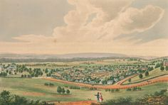 113 Names of Settlers Assigned Male Convicts During the Month of October, 1833 Pictured: Parramatta, New South Wales 1824 by Joseph Lycett Australian Painting, Historical Pictures, Family History, Joseph, Vietnam, The Past, Community, Court Records, City