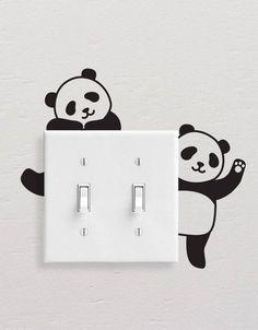 Panda Wall Decals, Panda Light Switch Decal, Simple Panda Vinyl Wall Decal, Panda Stickers, Light Switch Sticker - Best Painting Ideas For Beginners Simple Wall Paintings, Creative Wall Painting, Wall Painting Decor, Diy Wall Art, Diy Wall Decor, Home Decor Wall Art, Room Decor, Mur Diy, Diy Wand