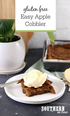 Easy Cinnamon Apple Cobbler Recipe (Gluten Free) - Perfect way to use up apples from your fall apple picking trip, this cobbler uses just six ingredients you likely already have in your fridge and pantry