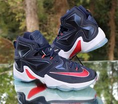 d716606f0dd81 Nike LeBron 13 XIII USA Midnight Navy Red White 807219-461 Men s Size 12