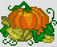 Pumpkin Pattern Cross Stitch Perler Hama Melty Fuse Beads