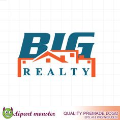 Big Realty logo design  Premade Real Estate Logo by ClipartMonster, $15.00