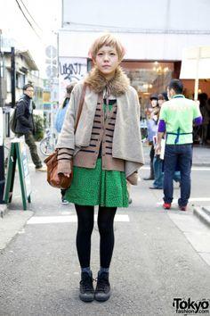Cape w/ Fur Collar & Short Print Dress in Harajuku