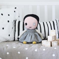 Dots all over the place! Ooh Noo linen minimalistic kid's bedding and designer toys www.ooh-noo.com Lucky Boy Sunday - Bad Eye Lilly doll