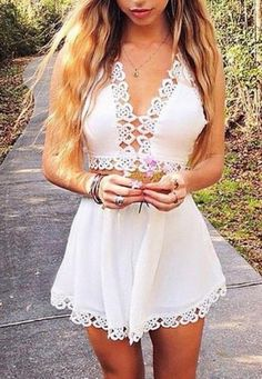 Cute hollow out lace two piece romper. Love this for summer. Super cute outfit.   Pinterest: @callmeleslie ❁