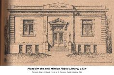 Mimico Public Library 1914. In 1912, several prominent Mimico residents decided to establish a public library board as a recreational project for the village. With 1,373 residents, the village's population was well below the minimum of 2,000 people usually required for Carnegie grants. Nevertheless, on February 26, 1914, Mimico received a Carnegie grant of $7,500 to build a library. At $5.46 per capita, this was the highest per capita amount received in the Toronto area.