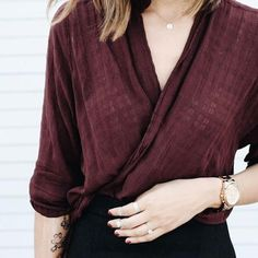 Wrap blouses are sophisticated and sexy. Layer one under a blazer to the office or with waxed denim for a night out.