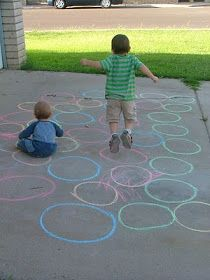 Chalk circle paths. Maybe add letters or sight words to use for spelling or scripture memory work.