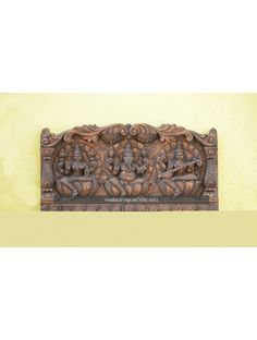Lakshmi, Ganesh and Saraswathi Ji Wooden Wall Fixing Sculpture Gajalakshmi is one of the Eight incarnations of Lakshmi (Gayathri Devi). Wooden Wall Panels, Wooden Walls, Wooden Frames, Pooja Room Door Design, Main Door Design, Puja Room, Wooden Art, Rock Crafts, Wood Paneling