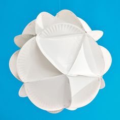 Paper-Plate Polyhedron | Crafts | SpoonfulI  I figured I might be able to paint these blue and use as decoration?  I would also spray paint some glitter paint to make it shine and look more elegant.
