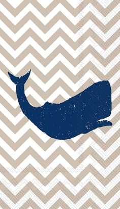 IHR Yacht Club Whale Linen White Marine Life Chevron Printed 3-Ply Paper Guest Towels Wholesale BF577766