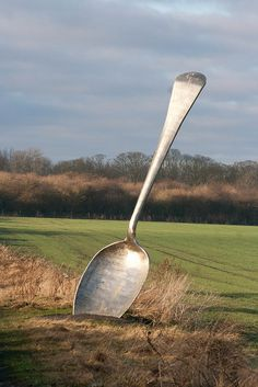 A giant spoon piece of art called Eat for England on the Wildspace Network art trail