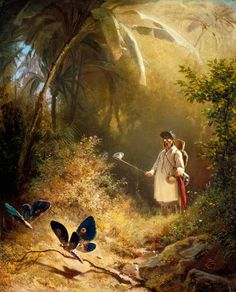 The artwork fine art print and hand painted oil reproduction of the painting The Butterfly Hunter, oil painting of Carl Spitzweg we deliver as art print on canvas, poster, plate or finest hand made paper. Carl Spitzweg, William Turner, Art Database, True Art, Art Pages, Famous Artists, Art Reproductions, Oeuvre D'art, Painting Art