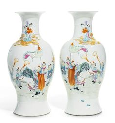 A pair of large famille-rose 'celebration' vases, Qing dynasty, 19th century