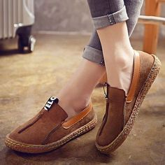 $14.45  Hot-sale Suede Pure Color Slip On Stitching Flat Soft Shoes For Women - NewChic